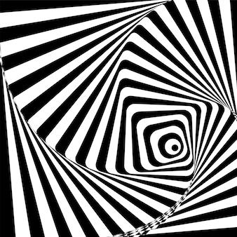 Fundo hipnótico preto e branco. ilustração