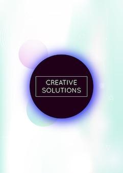 Fundo holográfico com formas líquidas. gradiente bauhaus dinâmico com elementos fluidos de memphis. modelo gráfico para folheto, interface do usuário, revista, cartaz, banner e app. fundo holográfico elegante.