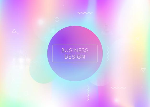 Fundo holográfico com formas líquidas. gradiente bauhaus dinâmico com elementos fluidos de memphis. modelo gráfico para folheto, interface do usuário, revista, cartaz, banner e app. fundo holográfico moderno.