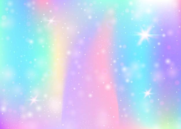 Fundo holográfico com malha de arco-íris. banner do universo girlie nas cores da princesa. pano de fundo gradiente de fantasia com holograma. fundo de unicórnio holográfico com brilhos de fadas, estrelas e borrões.