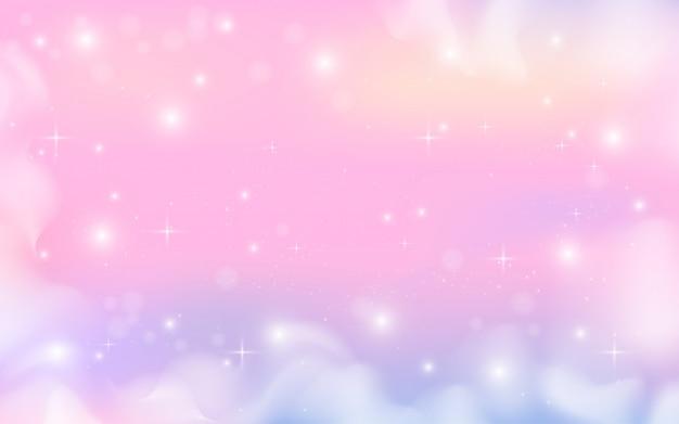 Fundo holográfico de galáxia de fantasia em tons pastel