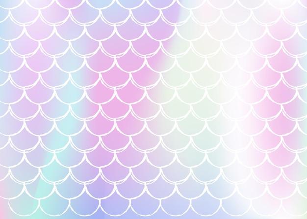 Fundo holográfico de sereia com escalas gradientes