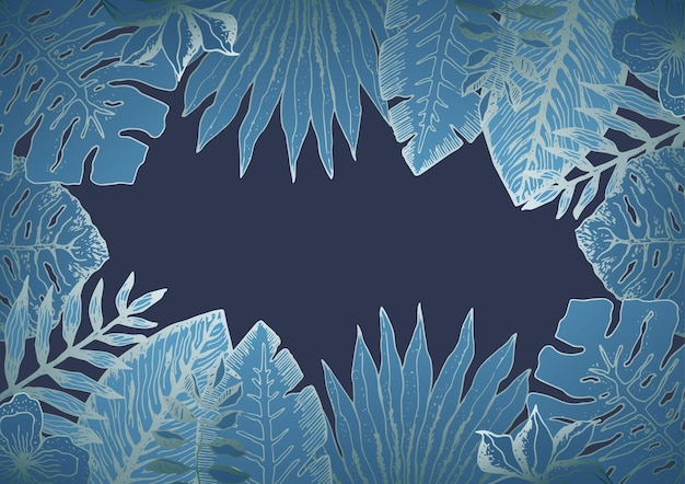 Fundo horizontal com folhas tropicais azuis