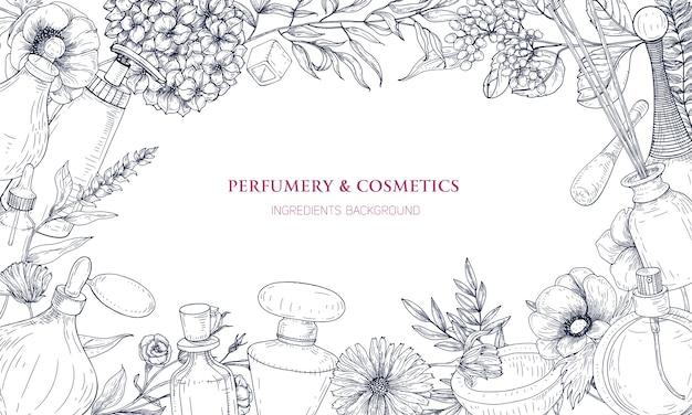 Fundo horizontal com moldura feita de ingredientes de perfumes e fragrâncias em frascos e flores desabrochando