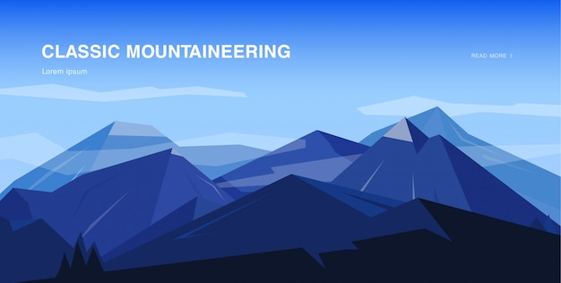 Fundo horizontal com montanhas. ilustração colorida de alpinismo, conceito com lugar para texto.