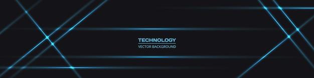 Fundo horizontal de banner preto largo abstrato de tecnologia com linhas de néon azul