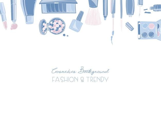 Fundo horizontal de cosméticos da moda com objetos de maquiador
