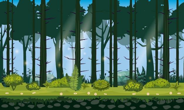 Fundo horizontal de paisagem de floresta perfeita para aplicativos de jogos, design, natureza, floresta, árvores, arbustos