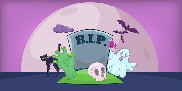 Fundo horizontal do cemitério de haloween, estilo dos desenhos animados