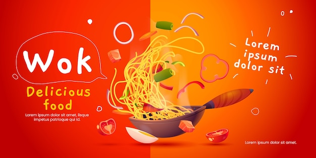 Fundo ilustrado de comida wok