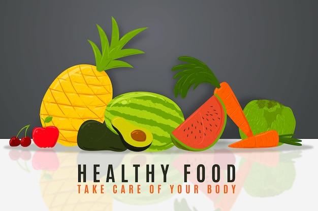 Fundo ilustrado de frutas e legumes