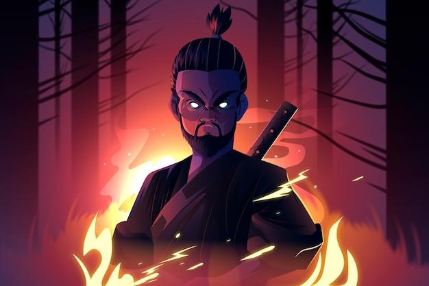 Fundo ilustrado de samurai realista