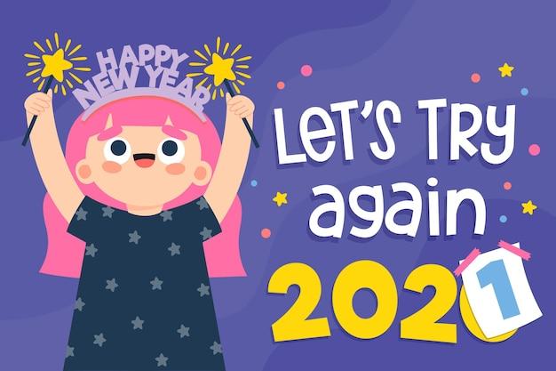 Fundo ilustrado do ano novo de 2021