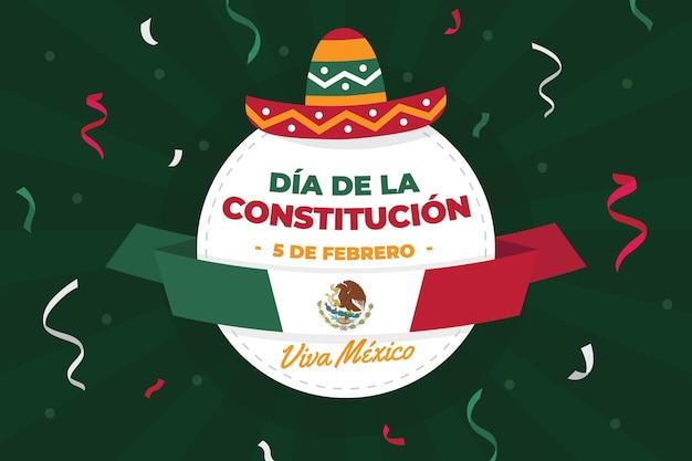 Fundo ilustrado do dia da constituição do méxico com chapéu festivo