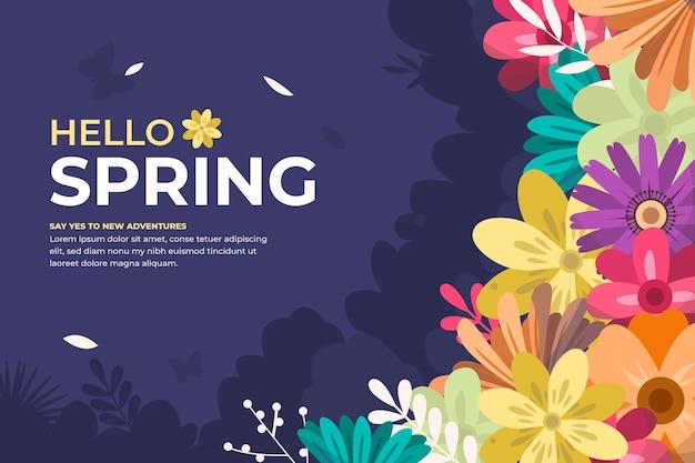 Fundo ilustrado floral primavera