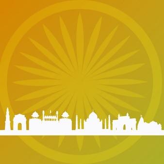 Fundo indiano abstrato com silhuetas de construção