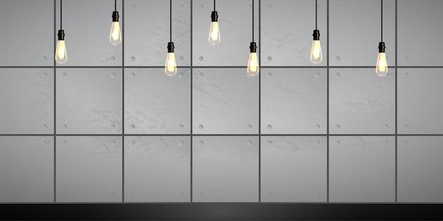 Fundo industrial mínimo com vintage com lâmpadas