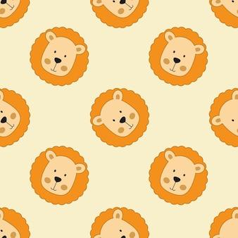 Fundo infinito com leões para crianças. padrão uniforme para impressão em tecido, papel de embalagem e têxteis.