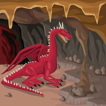 Fundo interior da caverna com criatura mitológica do dragão grega