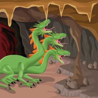 Fundo interior da caverna com criatura mitológica hydra