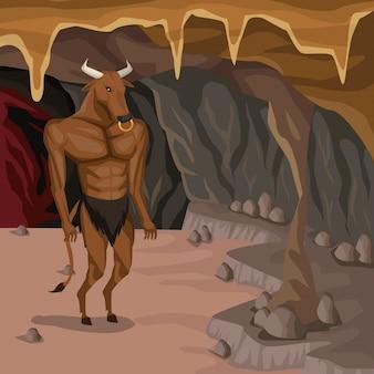 Fundo interior da caverna com minotaur criatura mitológica grega