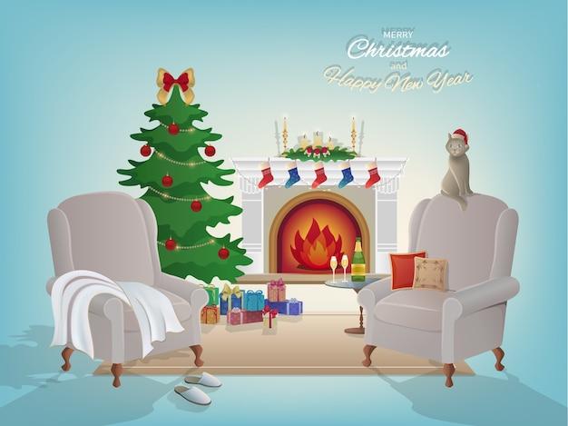 Fundo interior da sala, lareira, árvore de natal, poltronas