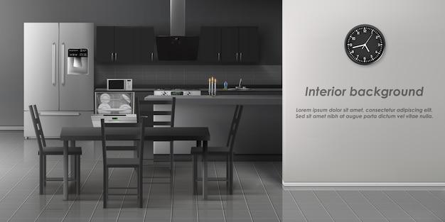 Fundo interior de cozinha moderna
