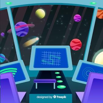 Fundo interior de nave espacial com design plano