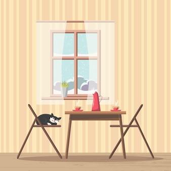 Fundo interior de sala de jantar com mesa e cadeiras perto de janela com vista para ...