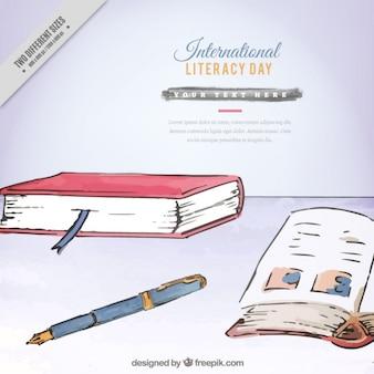 Fundo internacional dia alfabetização pintado com aguarelas