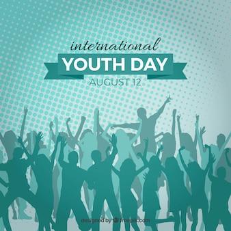 Fundo internacional do dia da juventude com inúmeras silhuetas