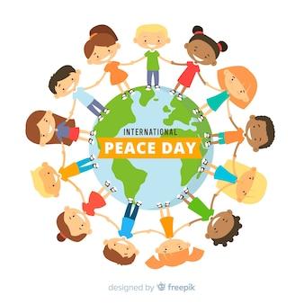 Fundo internacional do dia da paz com as crianças de mãos dadas