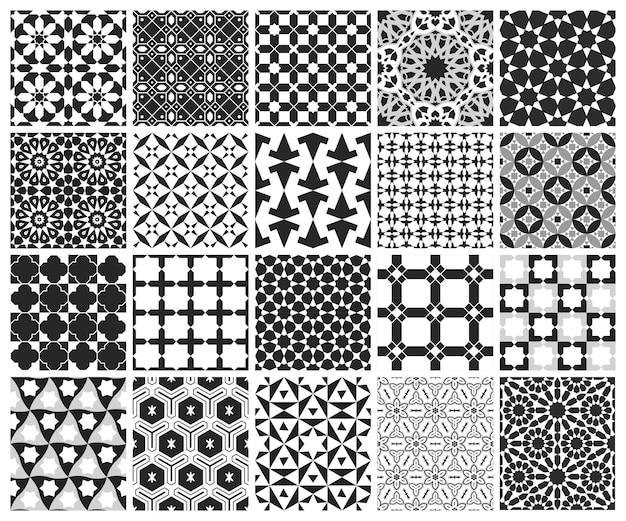 Fundo islâmico árabe tradicional. elementos de decoração de mesquita. conjunto de padrão sem emenda.