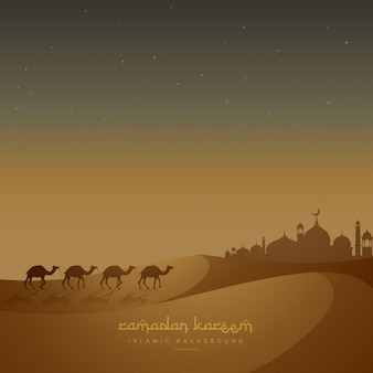 Fundo islâmico bonito com camelos anda na areia