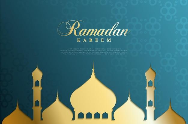 Fundo islâmico com a escrita do ramadã e a imagem da mesquita em um plano de fundo graduado.