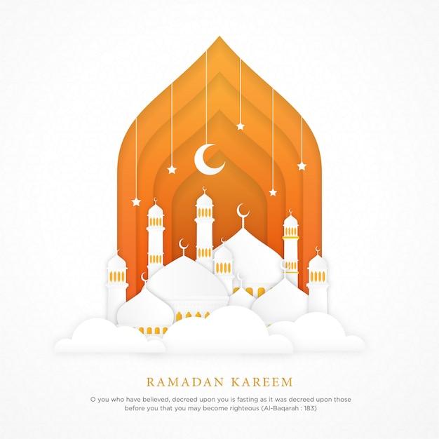 Fundo islâmico com cúpula de mesquita realista