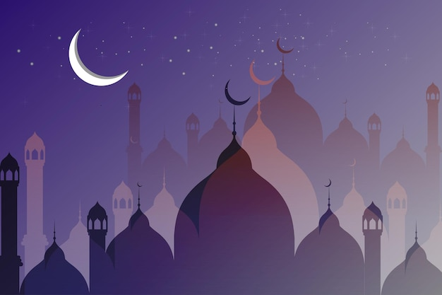Fundo islâmico da silhueta da mesquita