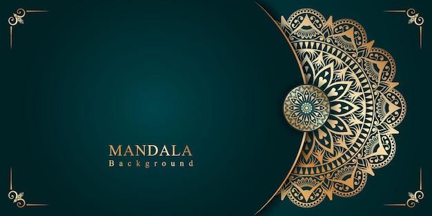 Fundo islâmico de arabescos de mandala dourada para o festival milad un nabi