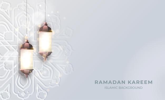 Fundo islâmico ramadan kareem com luz de lanterna e padrão de mandala islâmica