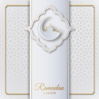Fundo islâmico ramadan kareem com mesquita, crescente e padrão geométrico