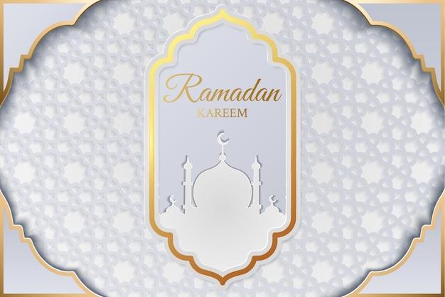 Fundo islâmico ramadan kareem com mesquita e padrão geométrico