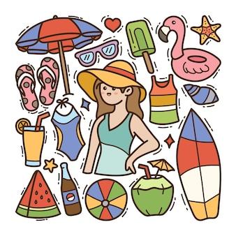 Fundo isolado de ilustração de doodle de verão