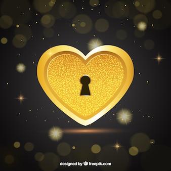 Fundo isolado dourado do coração