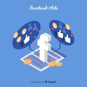 Fundo isométrica de anúncios do facebook