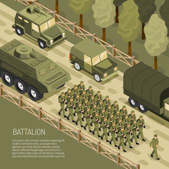 Fundo isométrico da campanha militar