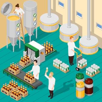 Fundo isométrico da cervejaria