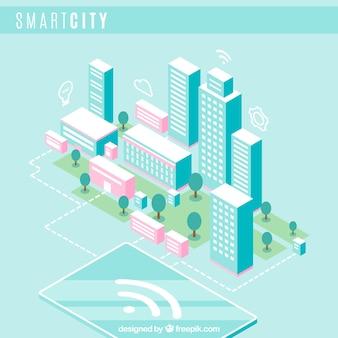 Fundo isométrico da cidade inteligente