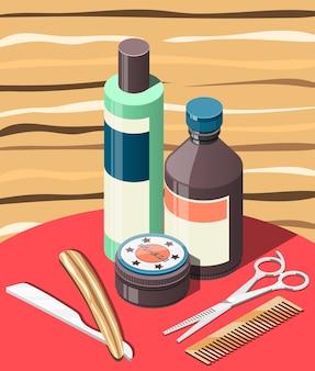 Fundo isométrico de barbearia com cosméticos para cabelo e ferramentas profissionais, incluindo tesoura, navalha, pente