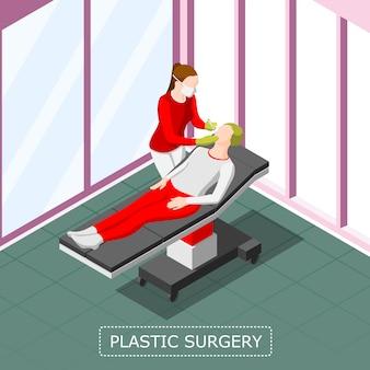 Fundo isométrico de cirurgia plástica