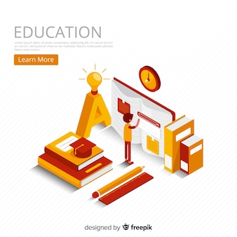 Fundo isométrico de conceito de educação